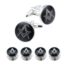 HAWSON Fashion Freemason Cufflinks and Studs Set High Quality Gold and Silver Cuff links Engraved 4 or 6 pcs Studs Set Options(China)