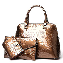 2018 Famous brand designer women handbags fashion patent leather embossed shell bag female tote bag set handbag three-piece suit(China)