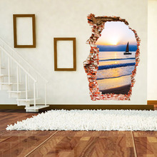 New Design Creative Removable Fashion 3D Broken Wall Sunset Sea And Boat Home Decoration Wall Stickers Living Room Wall Decals(China)
