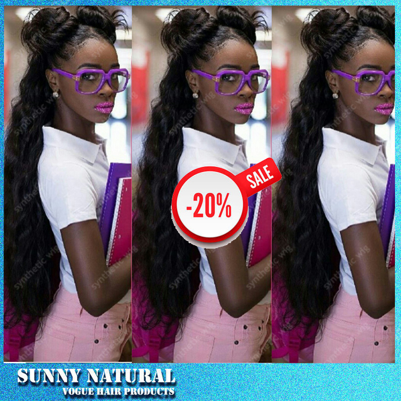 Kinky Curly Synthetic Wigs With Baby Hair Long Lace Front Synthetic Wig High Density Black Women Top Quality Lace Front Wigs<br><br>Aliexpress
