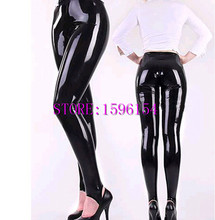 Buy Fashion Black Latex Women Pants Foot Tights Trousers Fetish Rubber Legging Close Fitting Adult Customize Plus Size S-XXXL