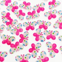 50 Pieces Resin Flatback Flat Back Cabochon Kawaii Pink Butterfly DIY Craft Decoration For Child Hair Bow Scrapbooking 14*22mm(China)