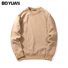 BOYUAN Brand Spring Autumn New Men Casual Hoodies Sweatshirt Solid Color Fleece Polyester Pullover Coat Warm Clothes HTWY19(China)