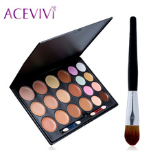ACEVIVI 2017 New 20 Colors Face Cream MC Makeup Contour Concealer Palette Make Up Foundation Professional Concealer Powder Brush(China)
