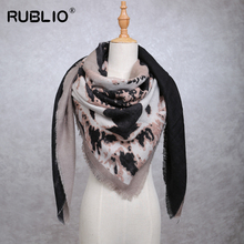 RUBLIO 2017 women Ink printing magic scarf High quality little tassel scaves luxury brand Cape Shawl 150cm*150cm #RUB860029
