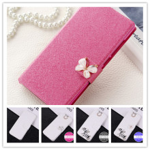Luxury flip phone case cover for Alcatel One Touch Idol 2 6037 6037K 6037B 6037Y with diamonds