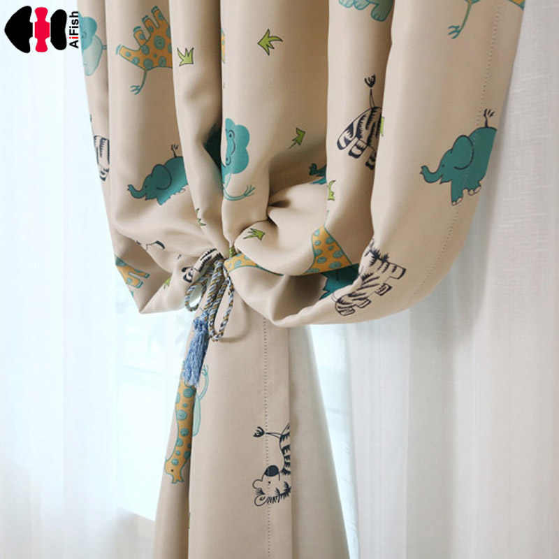cartoon Style Printed Curtains for Children Blackout Cloth Nursery Sheer Tulle Curtains Cotton  Kids Blinds Bedroom WP137B