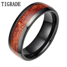 TIGRADE 8MM Black Red Wood Grain Ceramic Ring Men Wedding Band Classic Finger Jewelry Cool Male Rings For Party Gift(China)