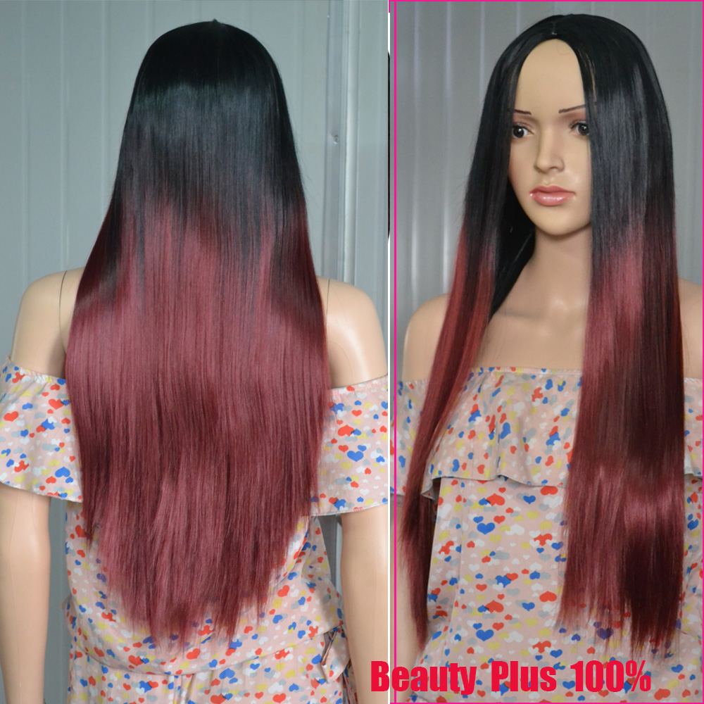 2017 Newest Ombre synthetic Red Black Burg ombre wig heat resistant for black Women Silk Straight Long Mixed Color Fast Shipping<br><br>Aliexpress