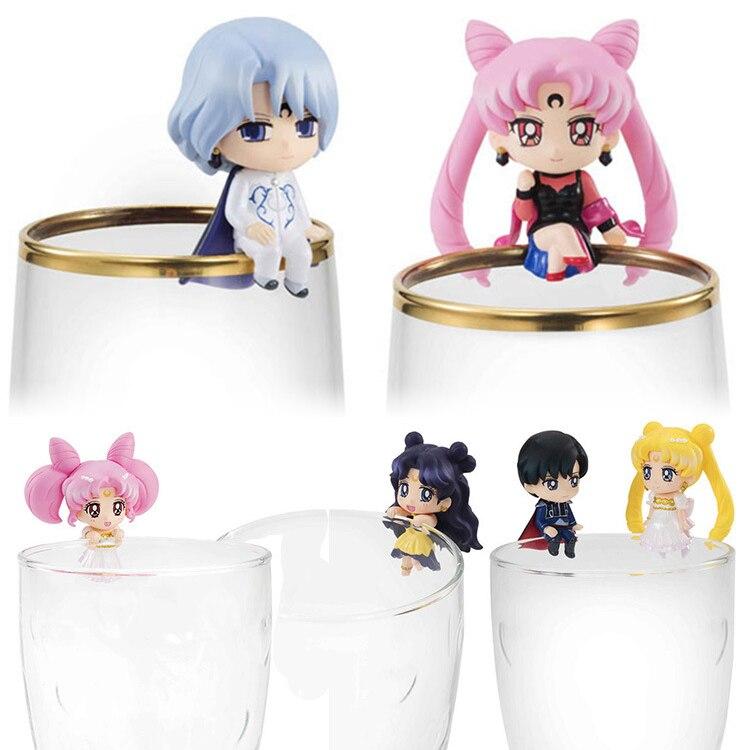 XINDUPLAN 8pcs Sailor Moon Cup Friends Anime ChibiUsa Tsukino Usagi Chiba Mamoru Action Figure Toys Gift 5cm PVC Cute Model 0945<br>