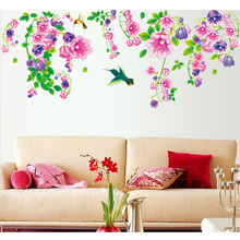 Pink Purple Flowers Birds Green Leaves Wall Sticker Decal Home Paper Art Picture DIY Murals Living Room TV Background Decoration