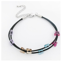 Fashion butterfly crystal charm bracelet Crystal from Swarovski woman casual Leather Bangle retro for female