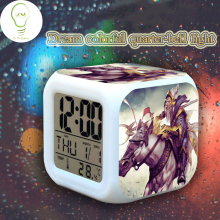 Color Change Multi-function Alarm Clock LED Watch Glowing Thermometer Desktop Clock Cube night light DOTA2 GAME Hero Comic