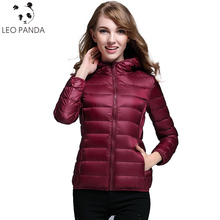 2017 New Winter Female White Eiderdown Jacket Thin Short Size Fashion Grace Slim Zip Hooded Ladies Leisure Coat Woman LXT617