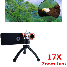 High-end 3in1 17x Optical Zoom Telephoto Telescope Lens For Samsung iPhone With Tripod Phone Cases Mobile Camera Lenses Kit