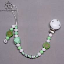 Buy MIYOCAR Personalised -Any name light green wooden beads pacifier clips dummy clip holder soother chain teether clip baby for $7.13 in AliExpress store