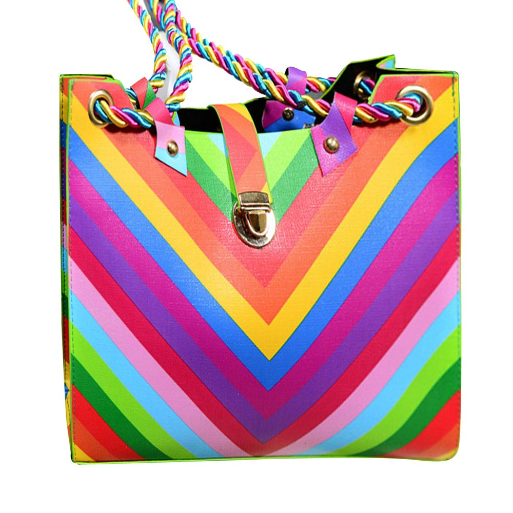 2016 New Fashion Women Rainbow Striped Rope Bag Shoulder Crossbody Faux Leather Tote Purse Lady Messenger Satchel Bag<br><br>Aliexpress