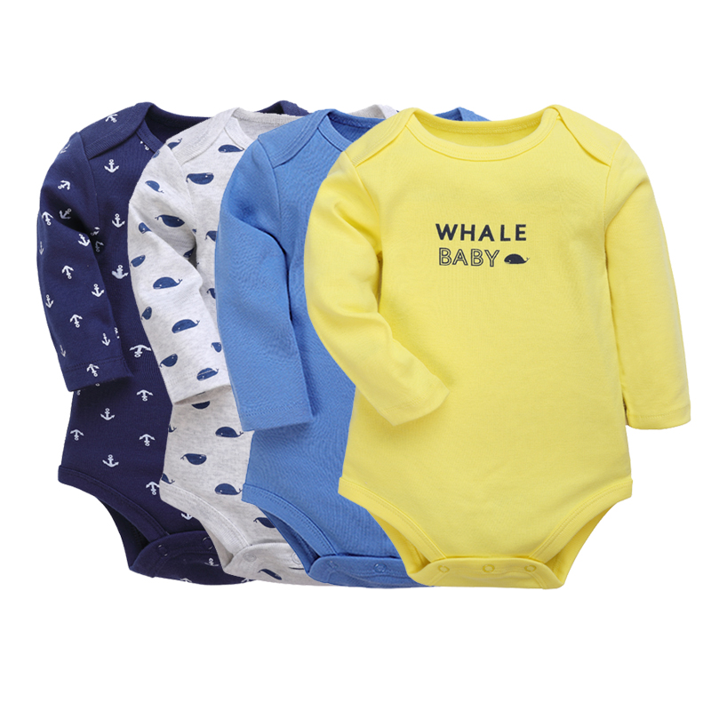 Maybe Baby Kids Infant Baby 4 Pack Long SleeveBodysuit Set Baby Boys Bodysuits