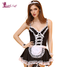 Buy Lurehooker 2017 Sexy Lingerie Hot Black Lace Maid Costumes Women Uniform Dress Backless Bow Erotic Maid Uniform Princess Dress