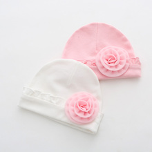 Infant Cotton Beanies Baby Hat Big Flower Toddler Boys Girls Lace Cap Princess Newborn Photography Props(China)
