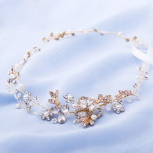 Exquisite Handmade Gold Crystal and Pearls Wedding Headpiece Hair Vine Bridal Headband Hair accessories(China)