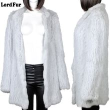 (Lord Fur) Lady Real Knitted Rabbit Fur Coat Jacket X-Long  Winter Genuine Women Fur Slim Outerwear Coats Garment LF4004