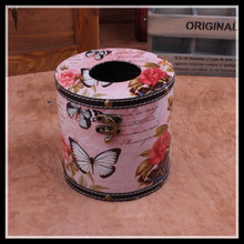 ElimElim Luxury Retro Rural Cylinder Tissue Box  Classic Room Desk Decoration Napkin HolderButterfly Flower Shape