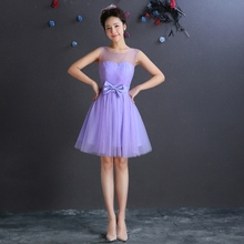 Short Ball Gown Bridesmaid Dress Lavender Under 50 Scoop Neck  Bridesmaid Dress 2017