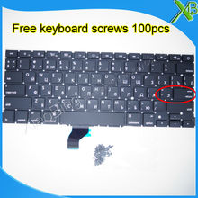 "Brand New For MacBook Pro Retina 13.3"" A1502 Small Enter RS Russian keyboard+100pcs keyboard screws 2013-2015 Years(China)"