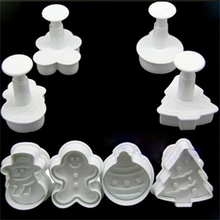 4Pcs Snowman Fondant Cake Mold DIY Christmas Biscuit Cookie Plunger Cutters Sugarcraft Tool Cake Decorating Tools