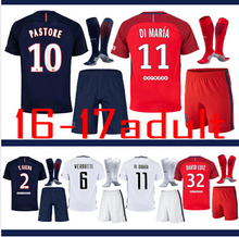 ds-9900 PSG THAI AAA BEST QUALIT SHORT SLEEVE ADULT KIT + SOCKS SOCCER JERSEY 16 17 HOME BLUE AWAY RED MEN SHIRT d