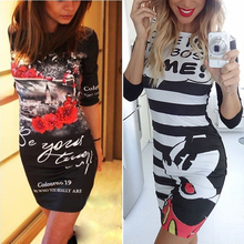 celebrity Summer 2016 fashion women Character O-Neck Print Dress half Sleeve Bodycon dress knitting empire solid Casual Dress