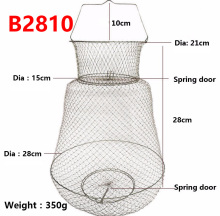 Fish Care 304 stainless steel factory outlets Collapsible drum-shaped steel wire creel Export quality wire fish keep net