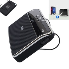 Universal Phone Speaker Bluetooth 4.0 Car Receiver Speakerphone Adapter 3.5mm Sun Visor Handsfree Music Receiver + Car Charger