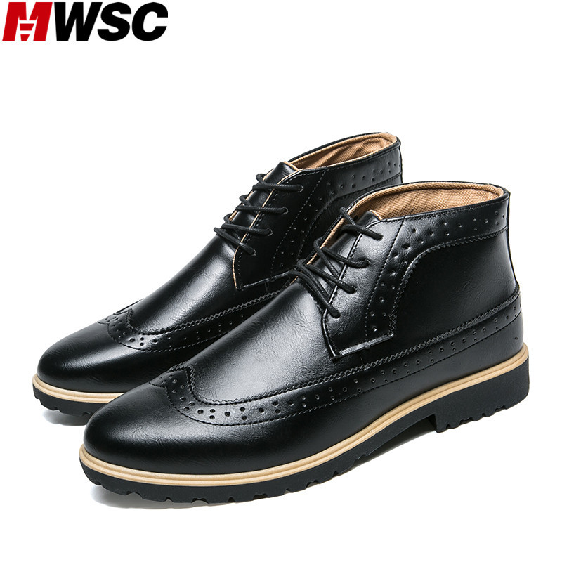 MWSC New Design Brand Mens Casual Brogue Shoes Spring Style Male Lace Up Fashion Leather Shoes<br>