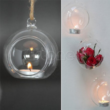 New Arrived Clear Hanging Glass Gadget Ball Candle Candlestick Tea Light Plant Holder Party Wedding Decoration Candle Holders