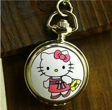 Fashion lovely cartoon enamel Hello Kitty quartz Pocket watch necklace woman man pendant