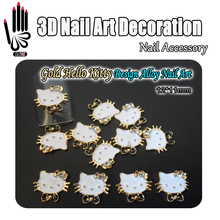 Nail Art 10pcs/Lot 3D Nail Art Gold White Black Glitter Rhinestone Alloy Hello Kitty Design Nail Art Decorations Accessory(China)