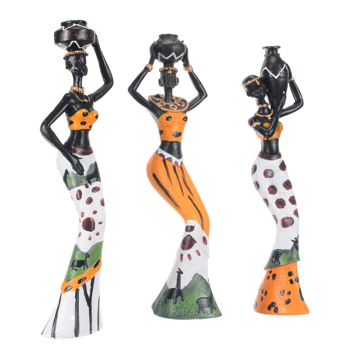 3pcs Exotic African Lady Figurines Set Resin Statue Ornament Art Home Desk Sculpture Decors For Home Office