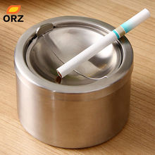 ORZ Portable Car Ashtray Mini Windproof Cigarette Lidded Ashtray Cigarette Case Stainless Steel Tools(China)