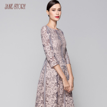 Jane Story lady's flared slim elegant hollow out dress with three quarter sleeve lace floral sexy beautiful vintage office dress