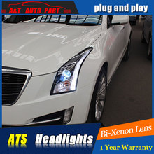 A&T Car Styling For Cadillac ATS headlights For ATS LED head lamp  led DRL front light Bi-Xenon Lens xenon HID