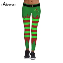 2017 Raisevern Christmas Leggings 3D Printing Wide Stripe in Fluorescent Green and Red Splicing Fitness Casual Women Legins(China)