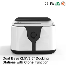 "HD 06 Upgraded! 2 Bay 2.5/3.5""USB 3.0 to SATA HDD SSD Docking Station Dual Bay Docking Station with Clone Function Socket"