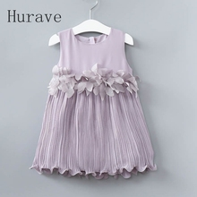 Hurave 2017 summer chiffon girls dress kids clothing costumes for girl dresses new fashion petal vestidos