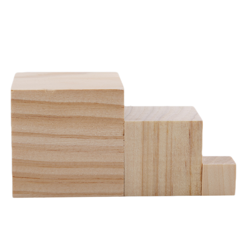 Blank Wood Cube Stacking Blocks For Puzzle Kids Developmental Toys 6A