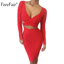 ForeFair Blue Black White Long Sleeve Elastic Cotton Winter Elegant Party Dresses Sexy Midi Pencil Club Bandage Bodycon Dress(China)