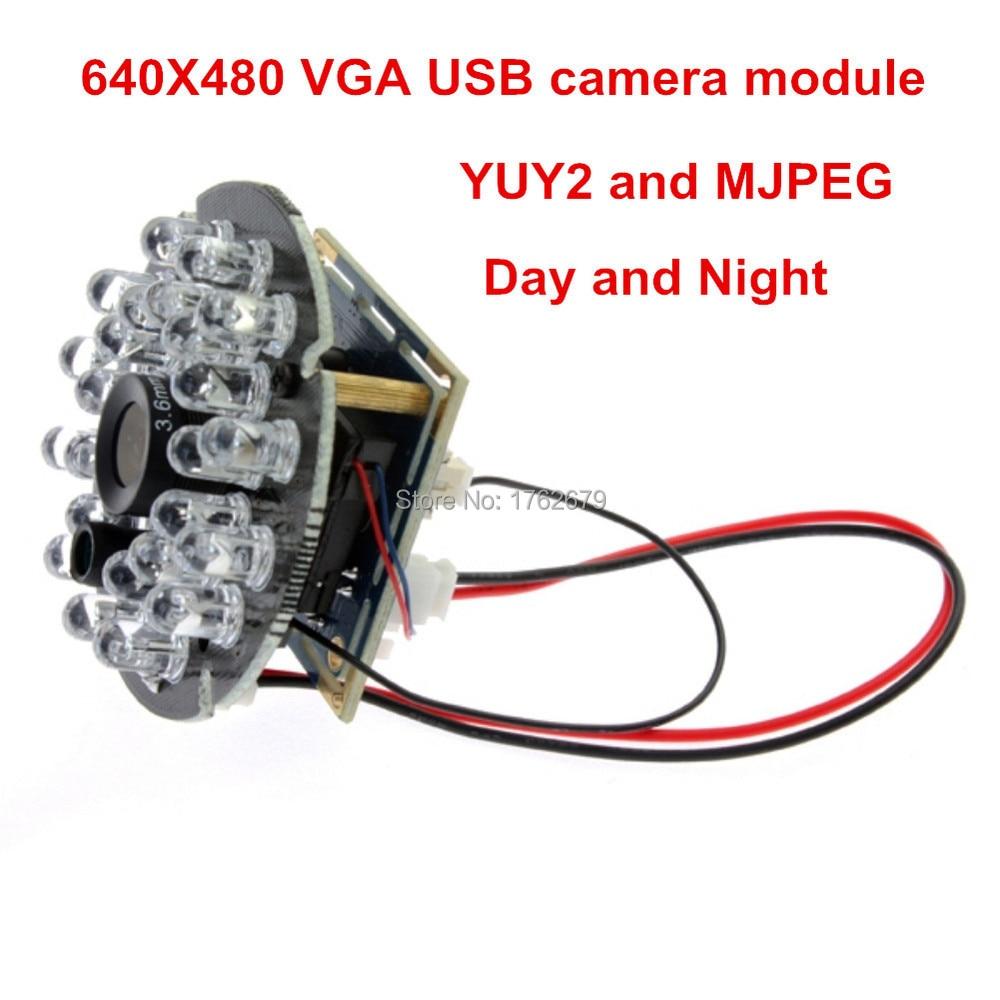 VGA 640*480 MJPEG 30FPS Usb Camera Module CMOS OV7725 24pcs IR LED infrared usb with Camera board 2.8mm/3.6mm/6mm/8mm Optional<br>