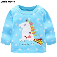 Little maven children brand baby girl clothes 2017 autumn new girls cotton long sleeve dot sky blue cloth unicorn t shirt 50899(China)