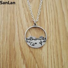 2pcs Mountain Range Jewelry Handmade Cactus Landscape Pendant Jewelry Gift MeadowDesert Sun Necklace necklace SanLan(China)